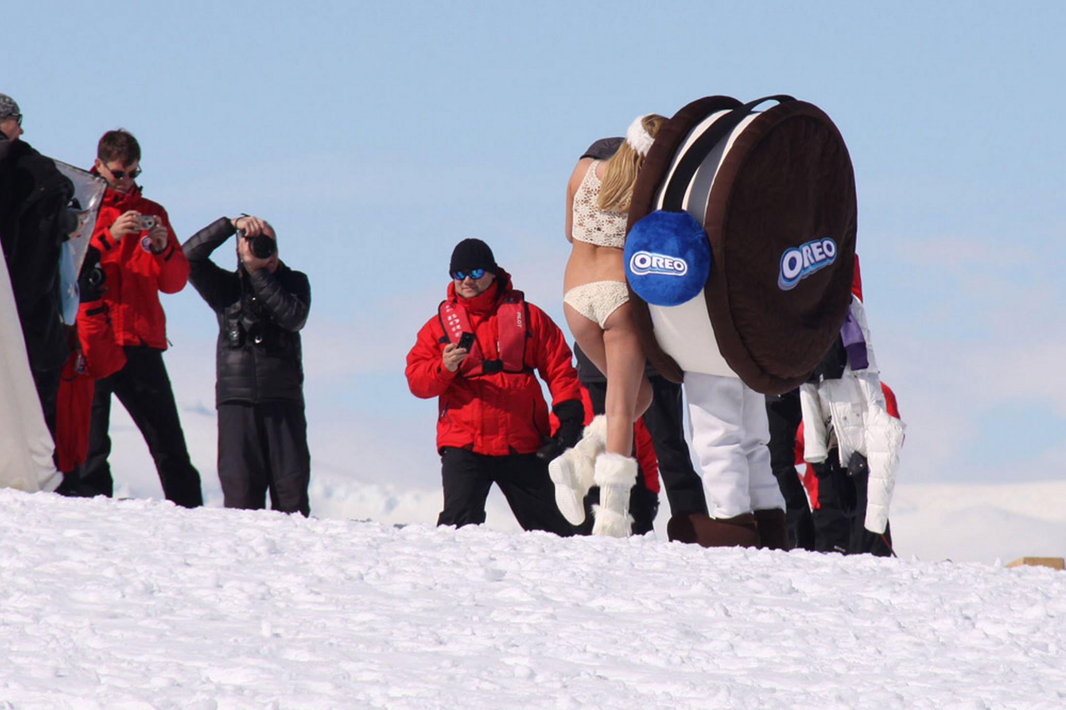 Kate Upton with a giant Oreo cookie.
