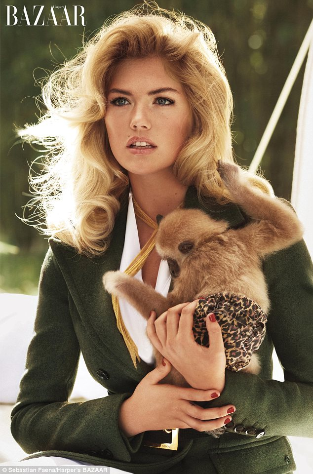 Kate Upton and a Baby Gibbon