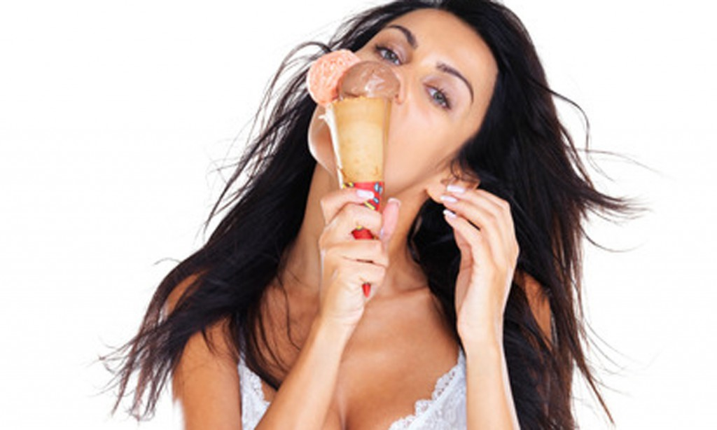 We should all look like her while eating ice cream......