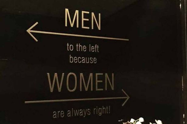men to the left women always right