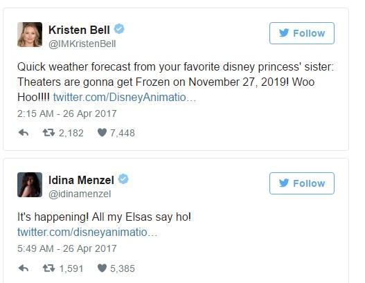 Kristen Bell and Idina Menzel Tweets